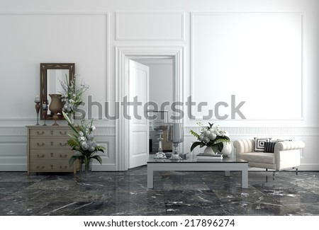Interior of Modern Upscale Luxury Sitting Room in Home - stock photo