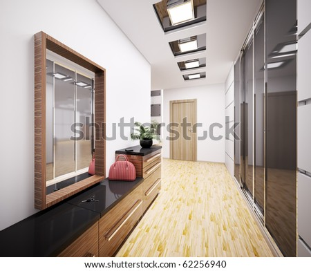 Interior of modern vestibule in apartment 3d render - stock photo
