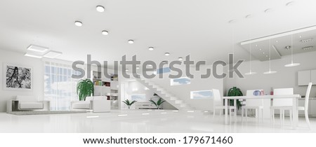 Interior of modern white apartment living room hall panorama 3d render - stock photo