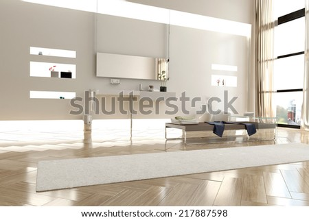 Interior of Modern White Brighty Lit Bathroom in Apartment with Large Windows - stock photo
