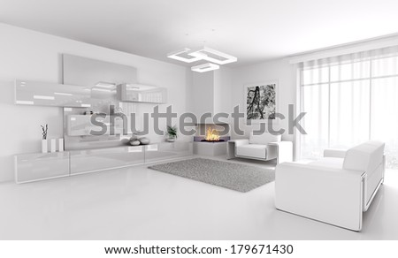 Interior of modern white living room 3d render - stock photo