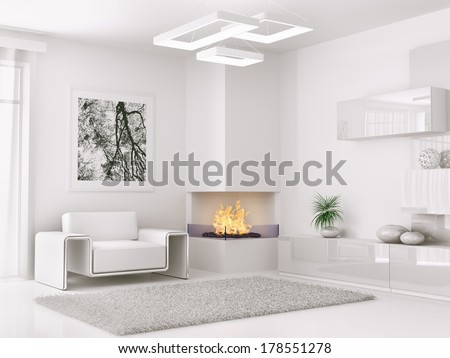 Interior of modern white room with armchair and fireplace 3d render - stock photo