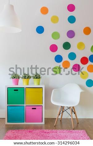 Interior of multicolor designed room for child - stock photo