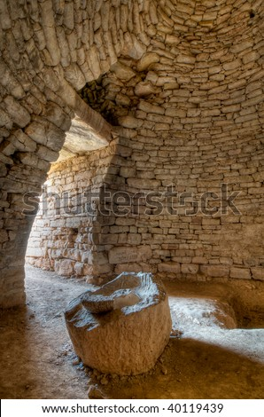 Interior of Mycenaean 'bee-hive' burial chamber, Greece