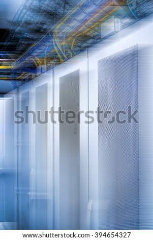 Interior of network server room for digital communications and internet.Futuristic data room center/High tech network data security center background