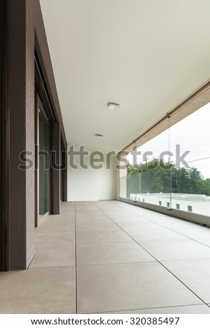 interior of new apartment, balcony seen from the outside