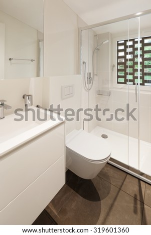 interior of new apartment, modern bathroom with shower