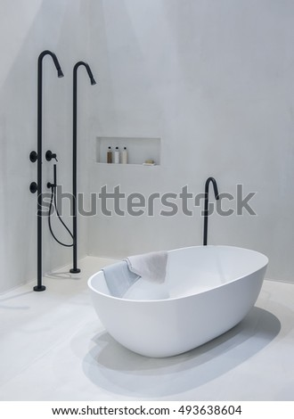 interior of new bathroom in modern style