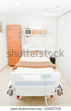 interior of new empty hospital room. - stock photo