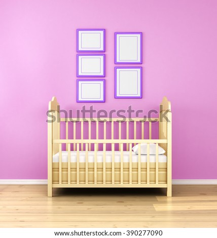 Interior of nursery. Frontal view. 3d illustration. - stock photo