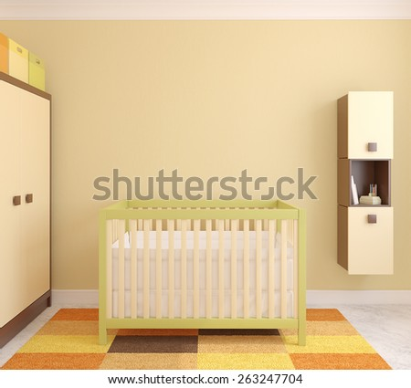 Interior of nursery with crib. Frontal view. 3d render. - stock photo