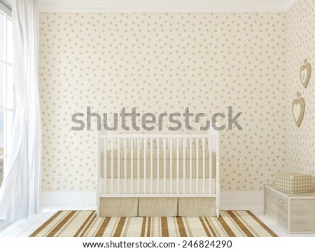 Interior of nursery with vintage crib. 3d render. Photo behind the window was made by me. - stock photo