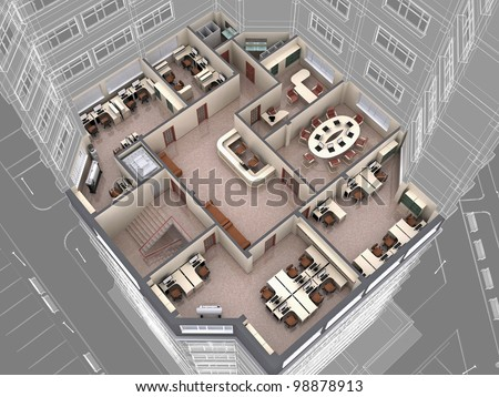 Interior Office Building Look Downwards 3d Stock Illustration
