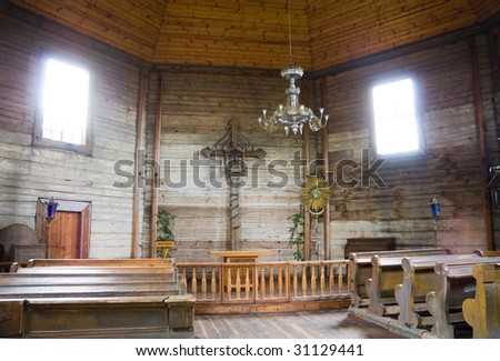 interior of old church - stock photo