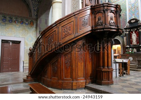 Interior of old church in Poland. - stock photo