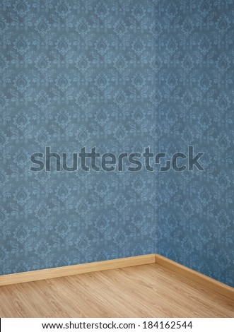 Interior of Old Room with a Wooden Floor and Blue Wallpaper - stock photo