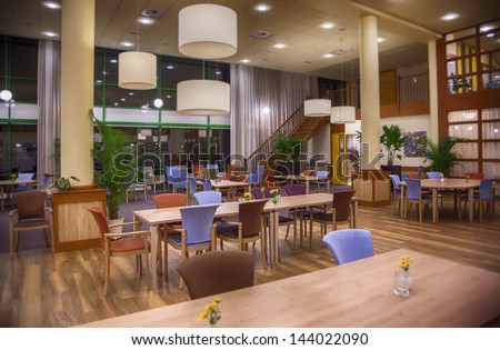 Interior of open space  in senior house - stock photo