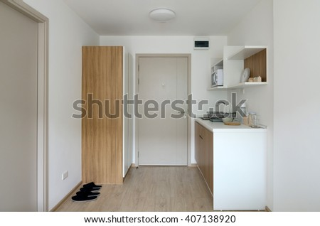 Interior of pantry with utensil in modern apartment - stock photo