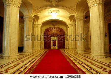 Interior of Parliament of Romania - People's House, Bucharest, Romania