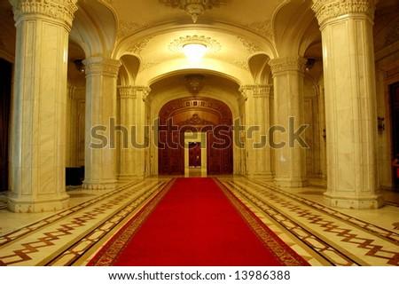 Interior of Parliament of Romania - People's House, Bucharest, Romania - stock photo