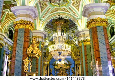 Interior of Peter and Paul cathedral in Peter and Paul Fortress, St. Petersburg, Russia - stock photo