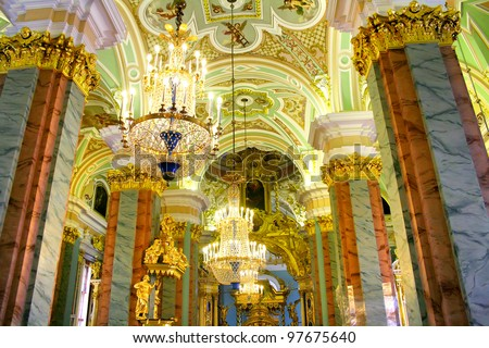 Interior of Peter and Paul cathedral in Peter and Paul Fortress, St. Petersburg, Russia