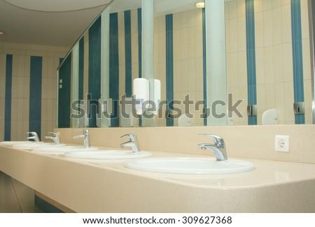 interior of private restroom - stock photo