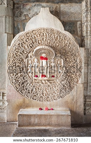 Interior of Ranakpur Temple in Rajasthan, India - stock photo
