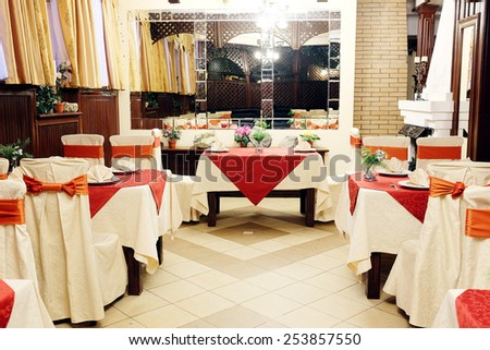Interior of restaurant - stock photo
