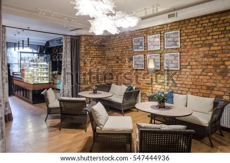Interior Restaurant Brick Wall Modern Design Stockfoto (Lizenzfrei ...