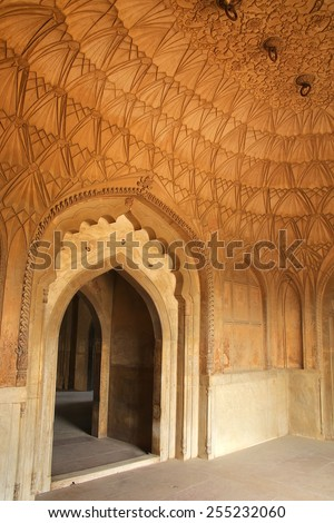 Interior of Safdarjung Tomb, New Delhi, India. It was built in 1754 in the late Mughal Empire style. - stock photo