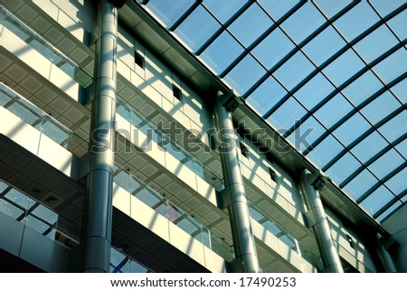 Interior of shopping centre with a glass roof