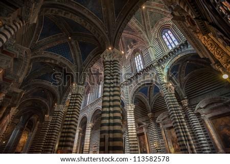 Interior of Siena Duomo, Tuscany, Italy - stock photo