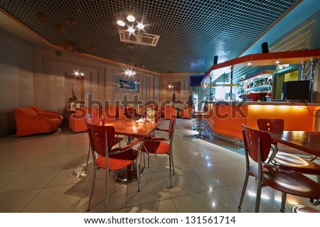 Interior of small empty cafe-bar - stock photo