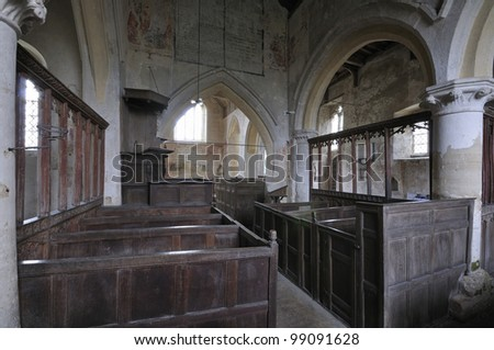 Interior of St. John The Baptist Church, Inglesham 13th centuary church near the River Thames at Lechlade - stock photo