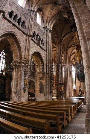 Interior of St Lawrence Church (Lorenzkirche) in Nurnberg, Germany - stock photo