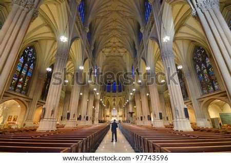 Interior Of St Patricks Cathedral A Famed Neogothic Roman Catholic In New York