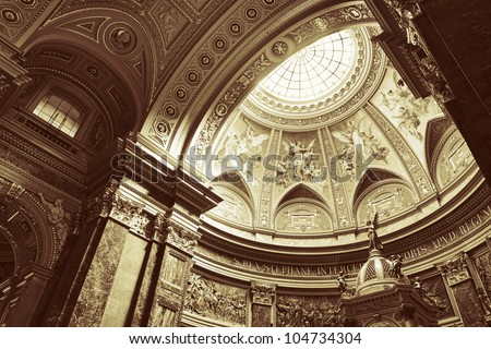 Interior of St. Stephen's Basilica, Budapest, Hungary - stock photo