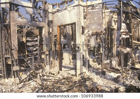 Interior of store burned out during 1992 riots, South Central Los Angeles, California - stock photo