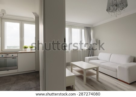 Interior of studio apartment in modern design