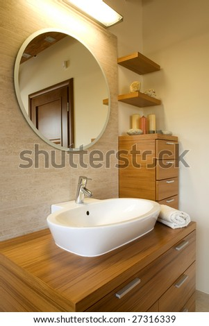 Interior of stylish modern bathroom