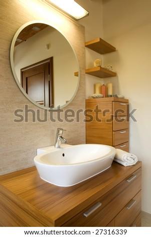 Interior of stylish modern bathroom - stock photo