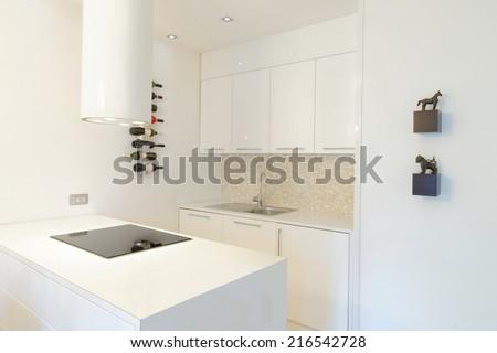 Interior of stylish modern house, kitchen  - stock photo