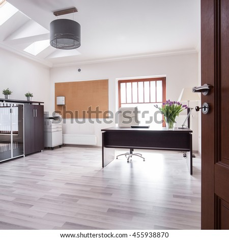 Interior of stylish office in luxury house