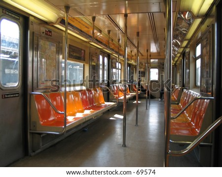 interior of subway car in new york city