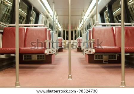 Interior of subway train car in Washington DC Metro system - stock photo