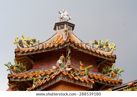 Interior of Taiwanese Temple - stock photo