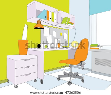 Interior of teenager. Looks like vector illustration. - stock photo