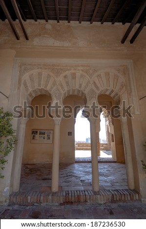 Interior of the Alcazaba of Malaga, Spain