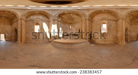 Interior of the ancient Christian temple Noravank in the mountains of Armenia